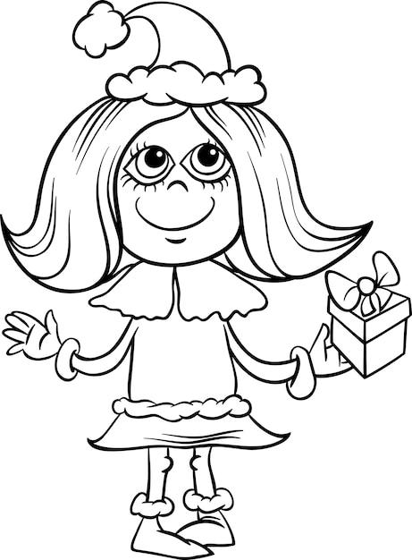 Página para colorear de dibujos animados chica copo de nieve ...