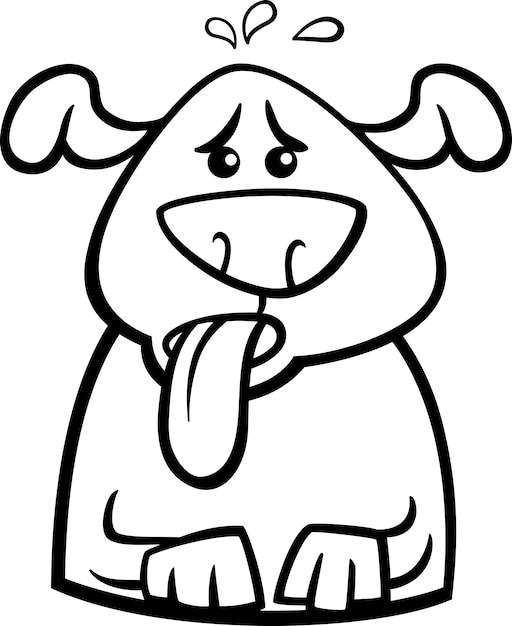 Página Para Colorear De Dibujos Animados De Perro Sudando