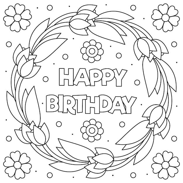 Página para colorear de feliz cumpleaños   Vector Premium