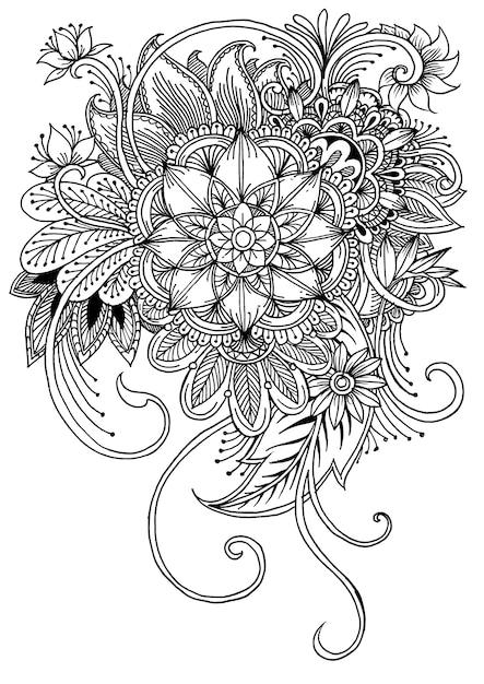 Página para colorear con flores y hojas. | Descargar Vectores Premium