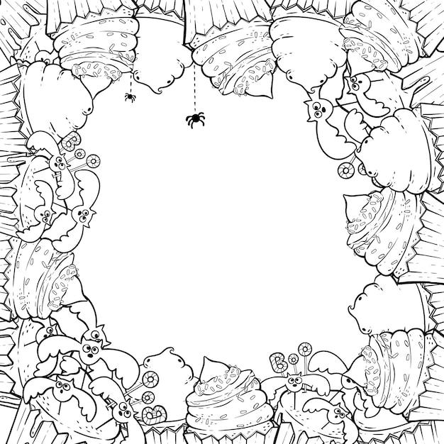 Página Para Colorear Marco Con Pastelitos De Halloween