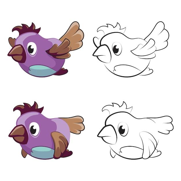 Página para colorear para niños con pájaros voladores de dibujos ...