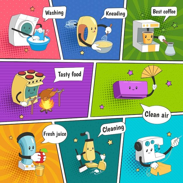 Página de cómic colorida y brillante de electrodomésticos con iconos divertidos que muestran equipos eléctricos domésticos vector gratuito