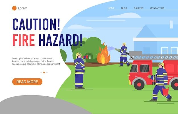 Página de destino de advertencia de peligro de incendio con bomberos en ropa protectora para extinguir incendios forestales, planos Vector Premium