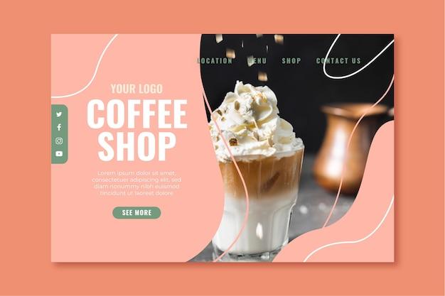 Página de destino para cafetería vector gratuito