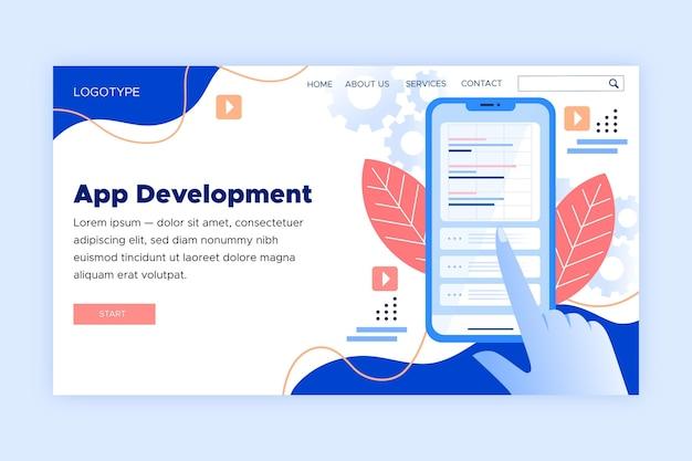 Página de destino para el desarrollo de aplicaciones en teléfonos inteligentes. Vector Premium
