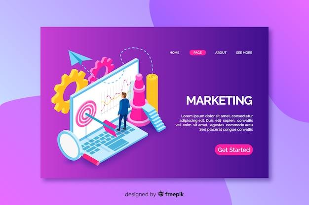 Página de destino con laptop isométrica de marketing vector gratuito