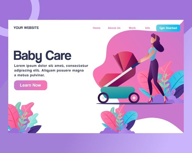 Página de destino. una mujer con un cochecito de bebé. Vector Premium
