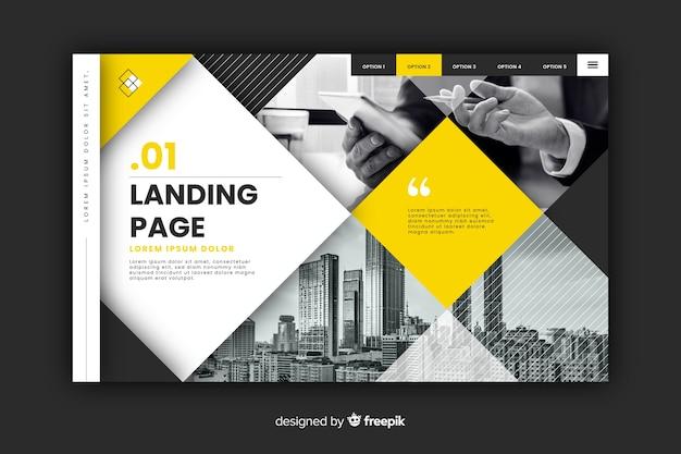 Página de destino de negocios con foto vector gratuito