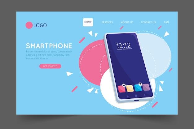 Página de destino con plantilla de teléfono inteligente Vector Premium
