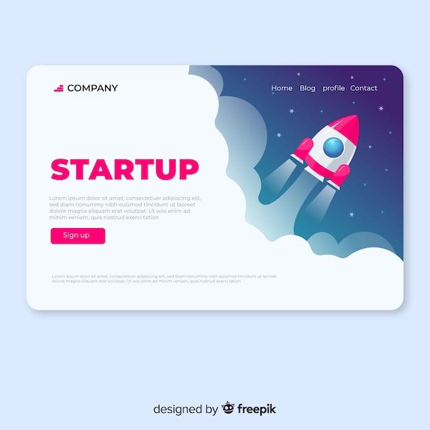 Página de destino para startup vector gratuito