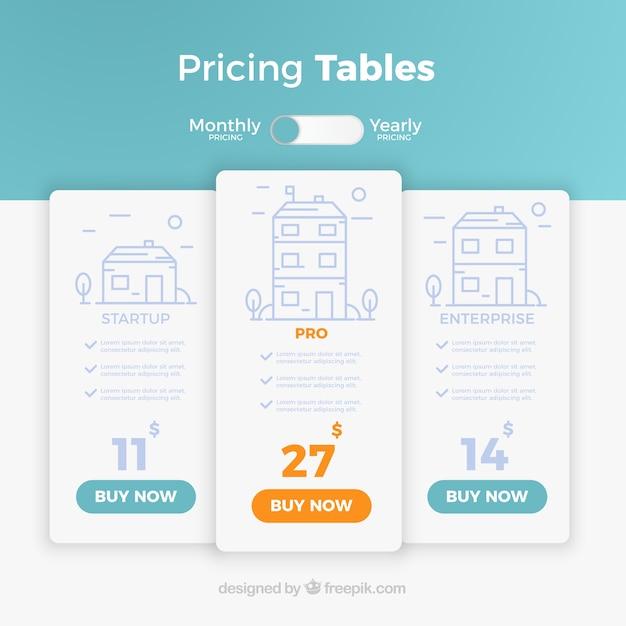 Página de destino con tablas de precios vector gratuito