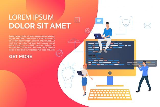 Página de diapositivas con computadora y gente de negocios trabajando en computadora vector gratuito