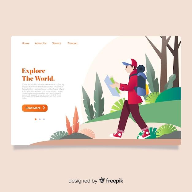 Página de inicio de agencia de viajes vector gratuito