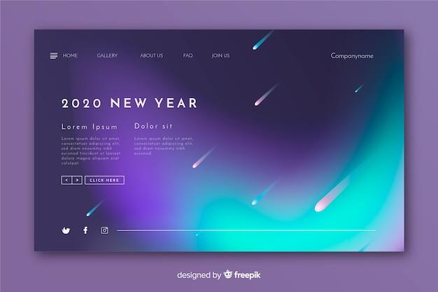 Página de inicio de año nuevo borrosa y estrellas fugaces vector gratuito