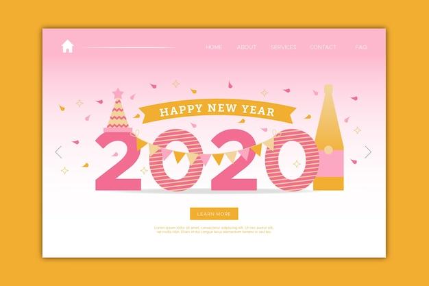 Página de inicio de año nuevo en diseño plano vector gratuito