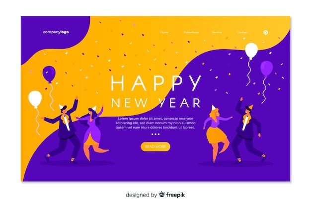 Página de inicio de año nuevo plana sobre fondo fluido vector gratuito
