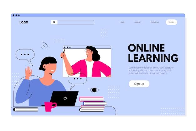 Página de inicio de aprendizaje en línea plana lineal vector gratuito