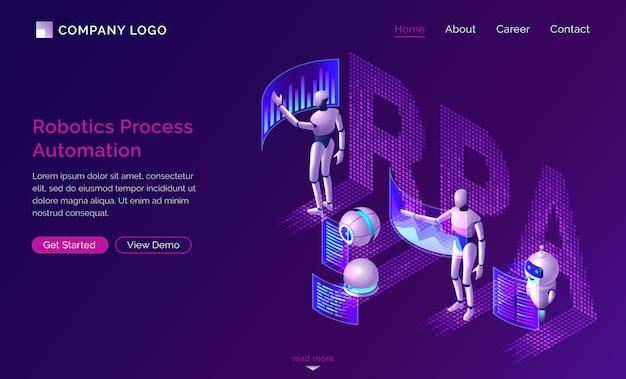 Página de inicio de automatización de procesos robótica vector gratuito