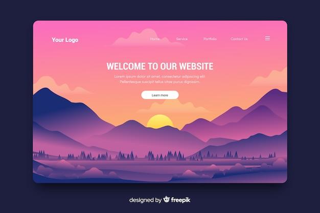 Página de inicio de bienvenida creativa con paisaje degradado vector gratuito