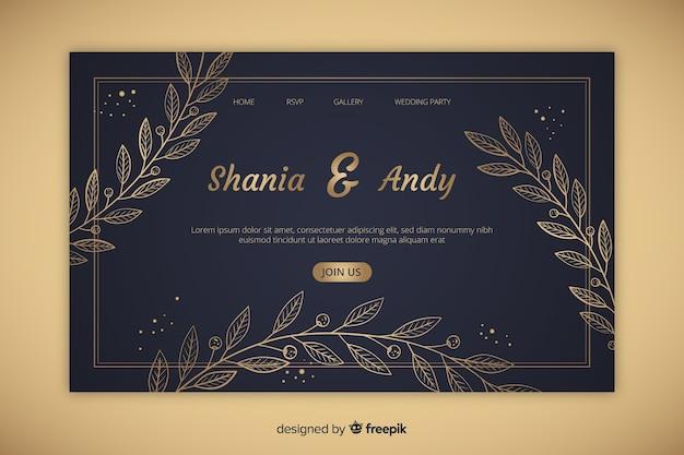 Página de inicio de boda elegante dorada vector gratuito