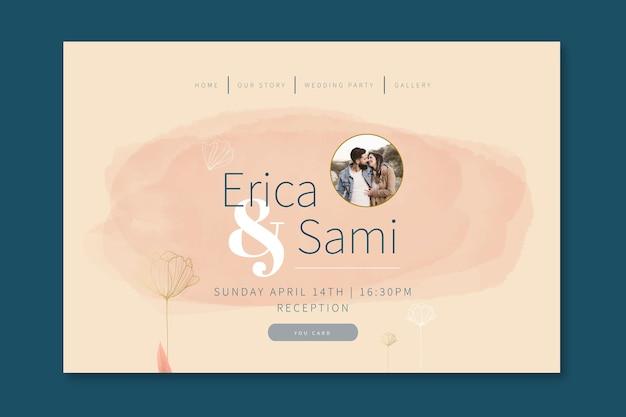 Página de inicio de boda mínima Vector Premium