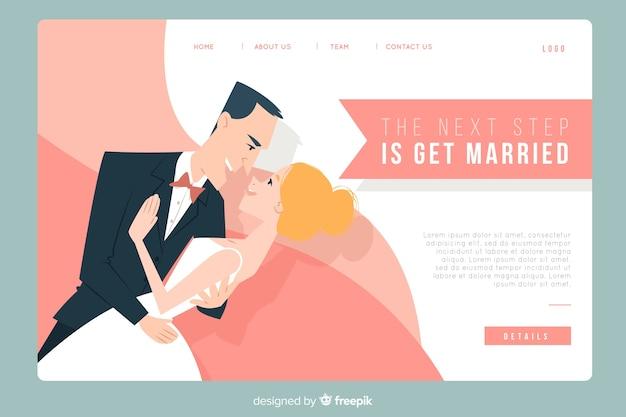 Página de inicio de boda con pareja vector gratuito