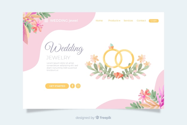 Página de inicio de bodas con anillos de oro vector gratuito