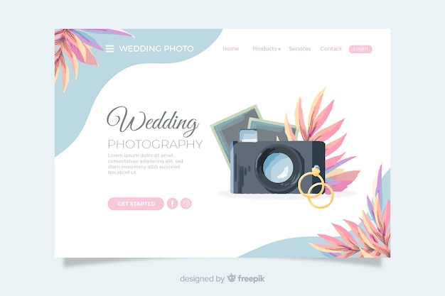 Página de inicio de bodas con cámara y anillos vector gratuito