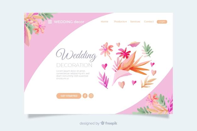 Página de inicio de bodas con hojas coloridas vector gratuito
