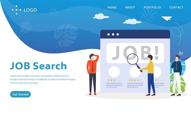 Página de inicio de búsqueda de trabajo, plantilla de sitio web, fácil de editar y personalizar, ilustración vectorial Vector Premium