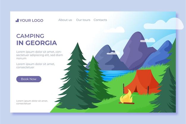Página de inicio de camping de diseño plano con carpa vector gratuito