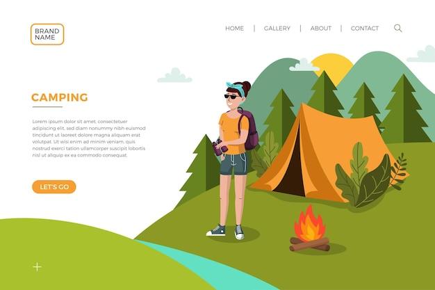 Página de inicio de camping con mujer y carpa. vector gratuito
