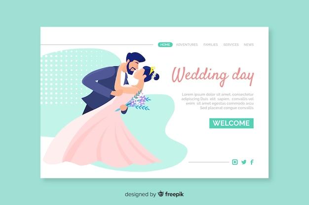 Página de inicio de la ceremonia del día de la boda vector gratuito