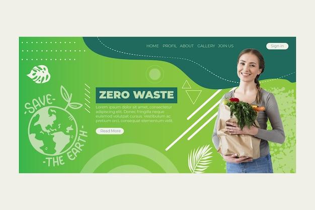 Página de inicio de cero residuos vector gratuito