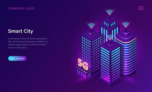 Página de inicio de ciudad inteligente vector gratuito