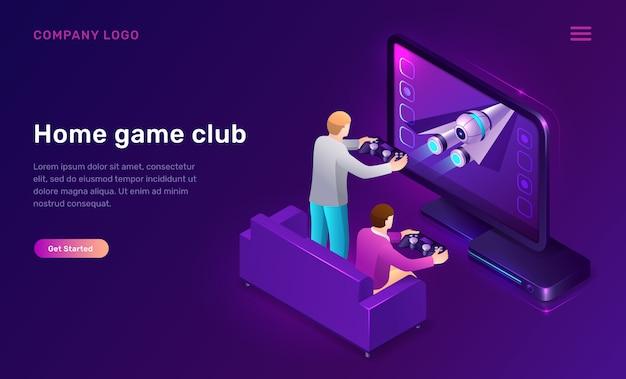 Página de inicio del club de juego en casa vector gratuito