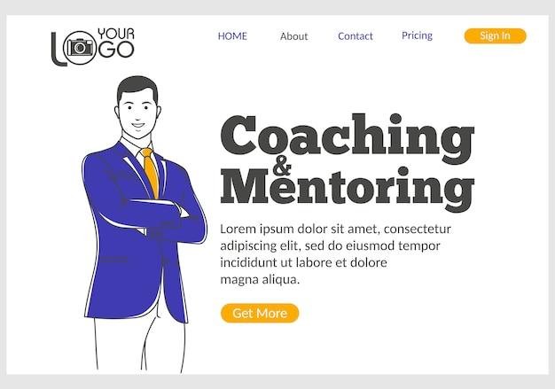 Página de inicio de coaching y mentoría Vector Premium