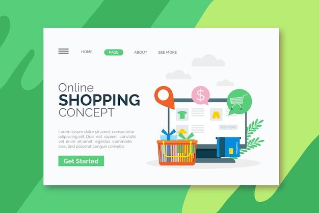 Página de inicio de compras en línea de diseño plano con ilustraciones vector gratuito