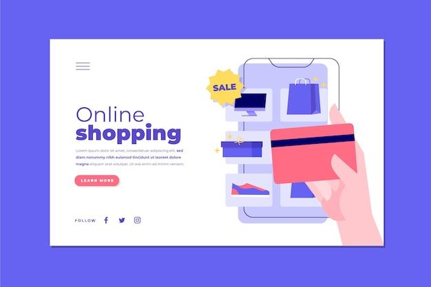 Página de inicio de compras en línea ilustrada plana vector gratuito