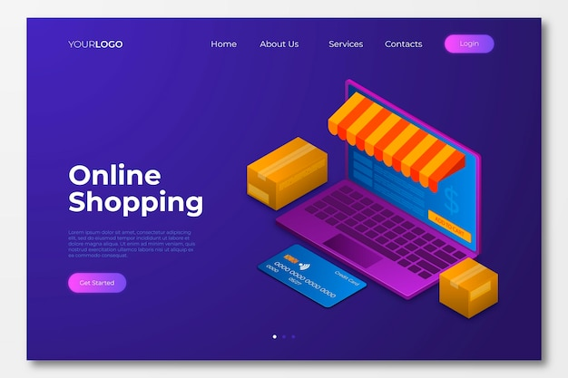 Página de inicio de compras en línea isométrica vector gratuito