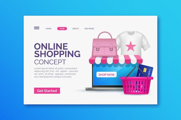 Página de inicio de compras en línea realista con ilustración vector gratuito