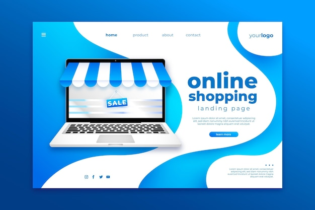 Página de inicio de compras en línea realista vector gratuito