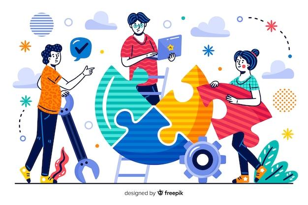 Página de inicio de concepto compañeros de trabajo vector gratuito