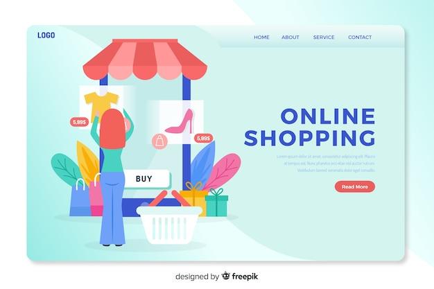Página de inicio del concepto de compras en línea vector gratuito