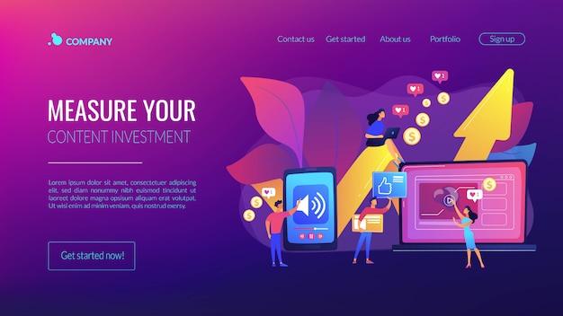 Página de inicio del concepto de contenido de alto roi Vector Premium