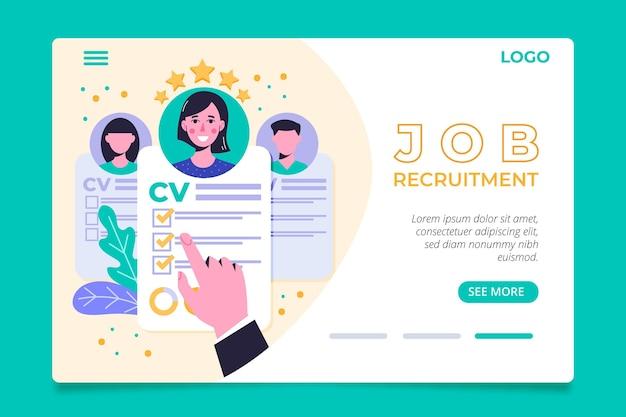 Página de inicio del concepto de contratación con ilustraciones vector gratuito