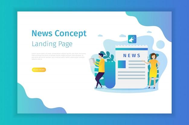 Página de inicio del concepto de noticias para el sitio Vector Premium