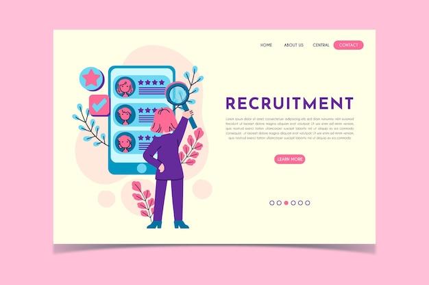 Página de inicio del concepto de reclutamiento vector gratuito