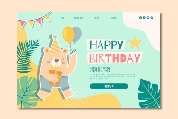 Página de inicio de cumpleaños para niños vector gratuito